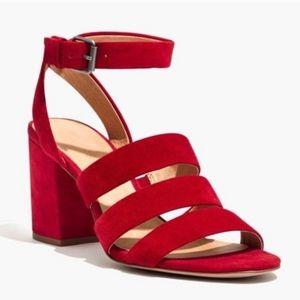 Madewell Maria Crimson Suede Block Heel Sandal